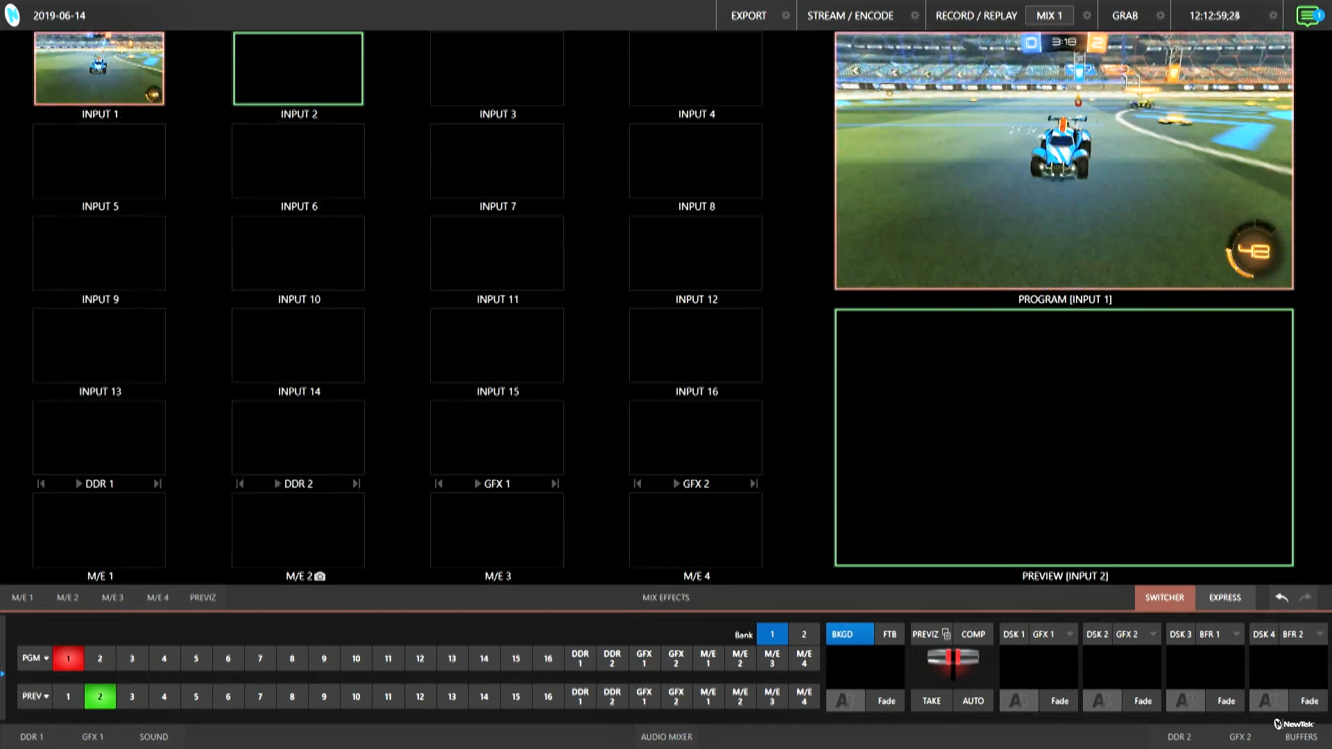 TriCaster User Interface with Spark Plus output on Program Out
