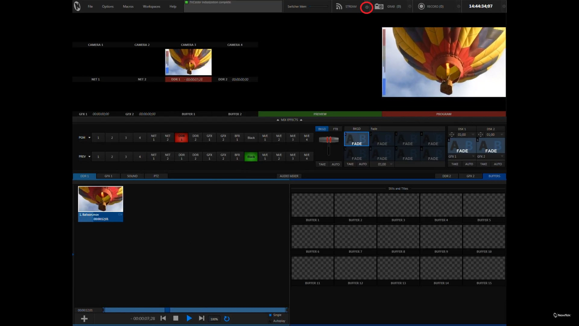 TriCaster UI: Click on the Settings gear for the Stream button.