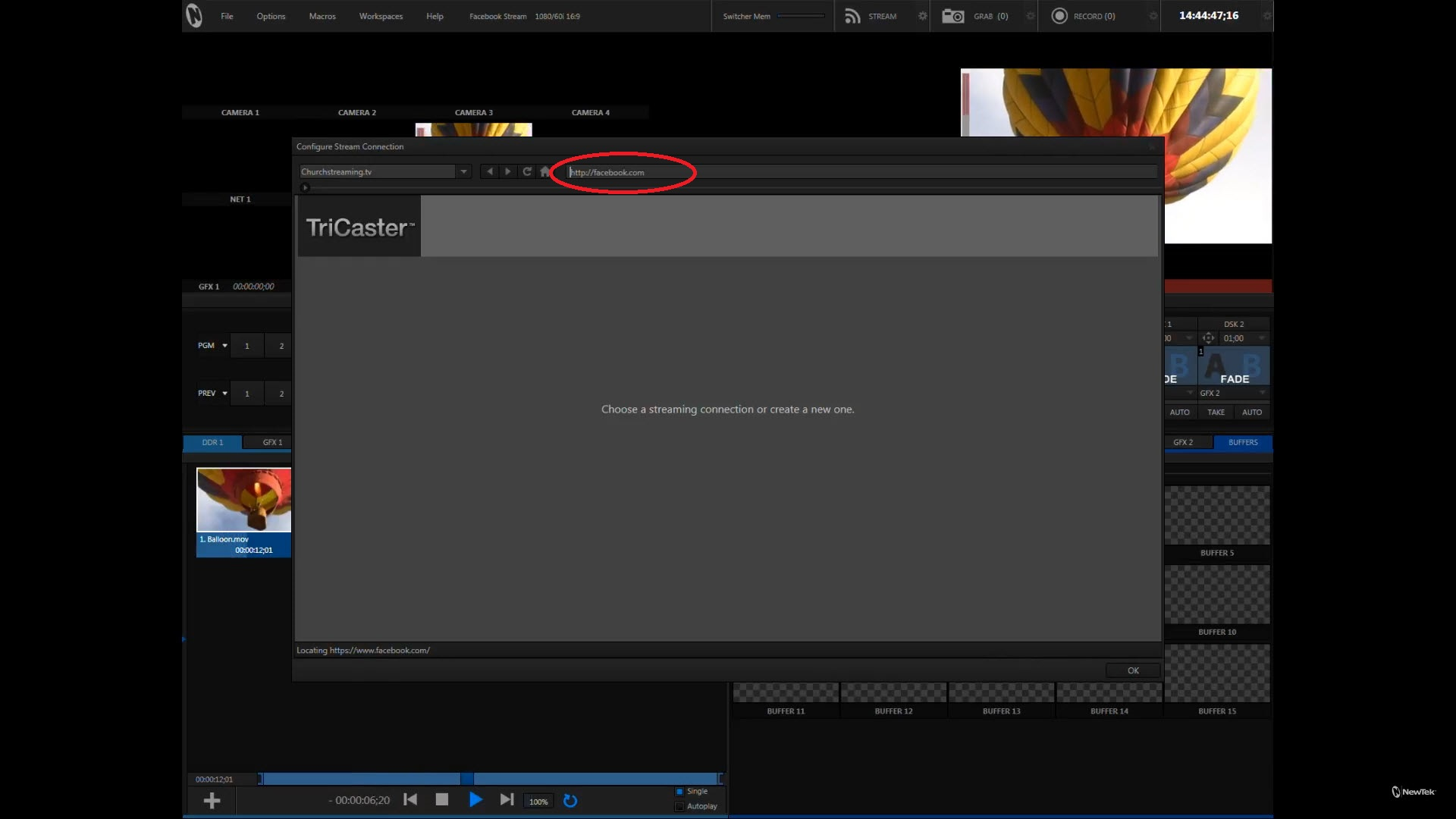 TriCaster UI: Enter Facebook.com in the Stream browser address bar.