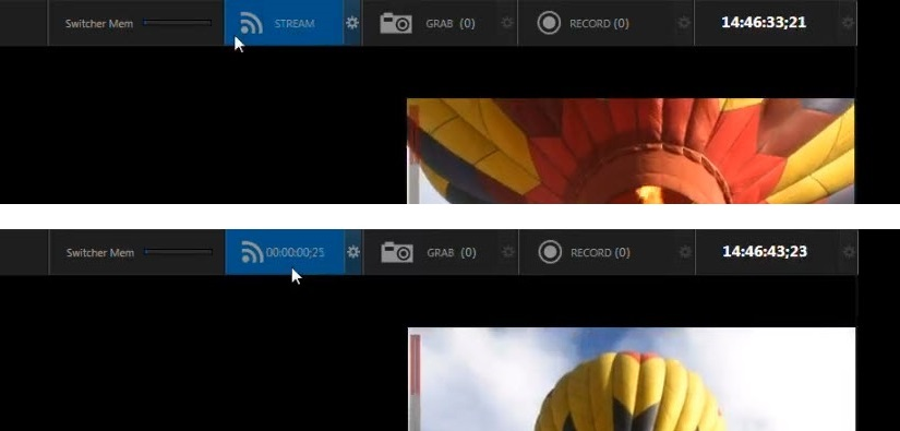 TriCaster UI: Click the Stream button to start streaming.
