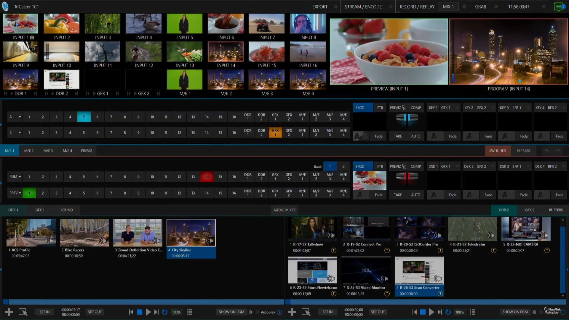 TriCaster TC1 Live Production Interface in default configuration