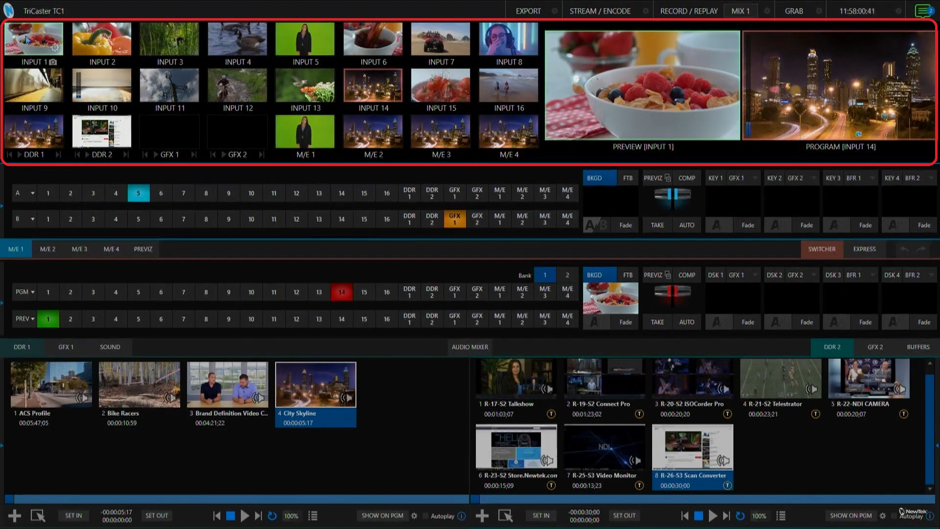 TriCaster TC1 Live Production Interface with Multiviewer section circled