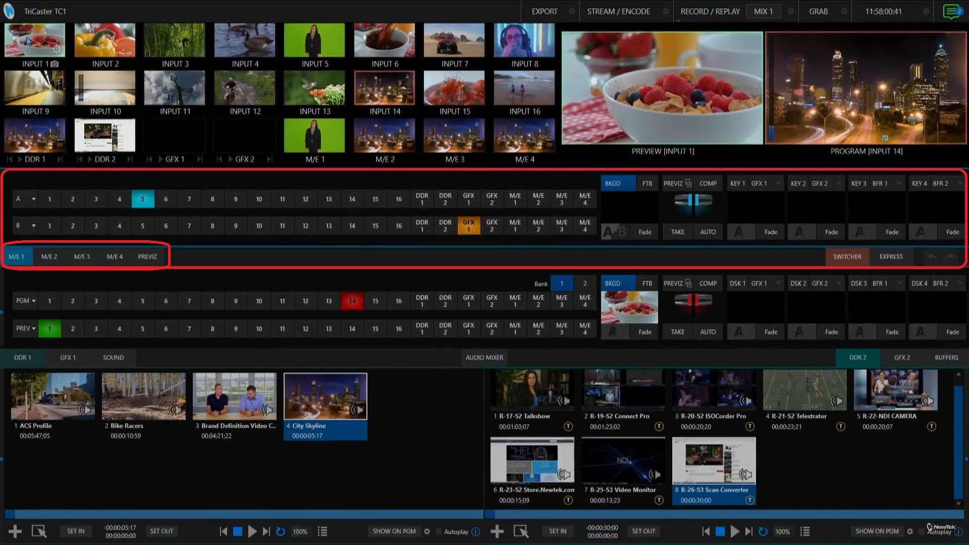 TriCaster TC1 Live Production Interface with M/E section circled