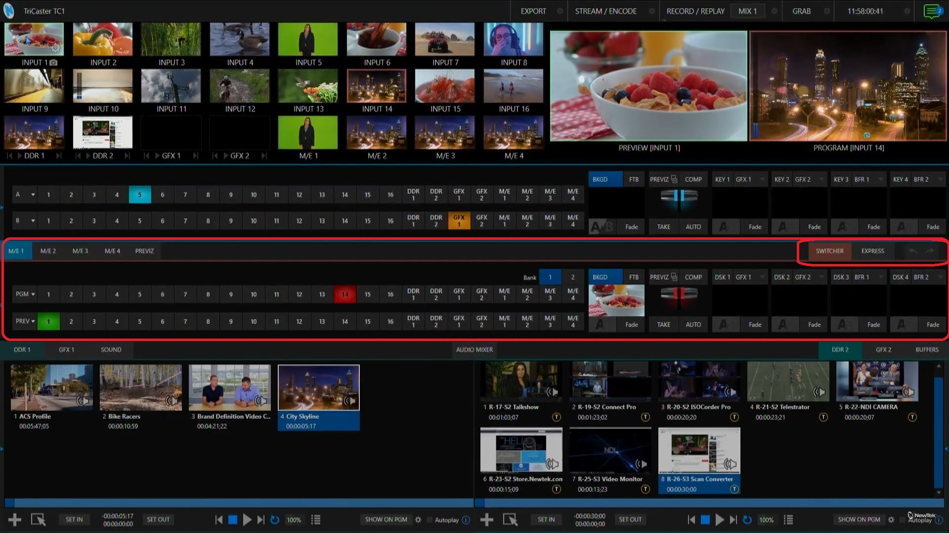 TriCaster TC1 Live Production Interface with Main Switcher section circled