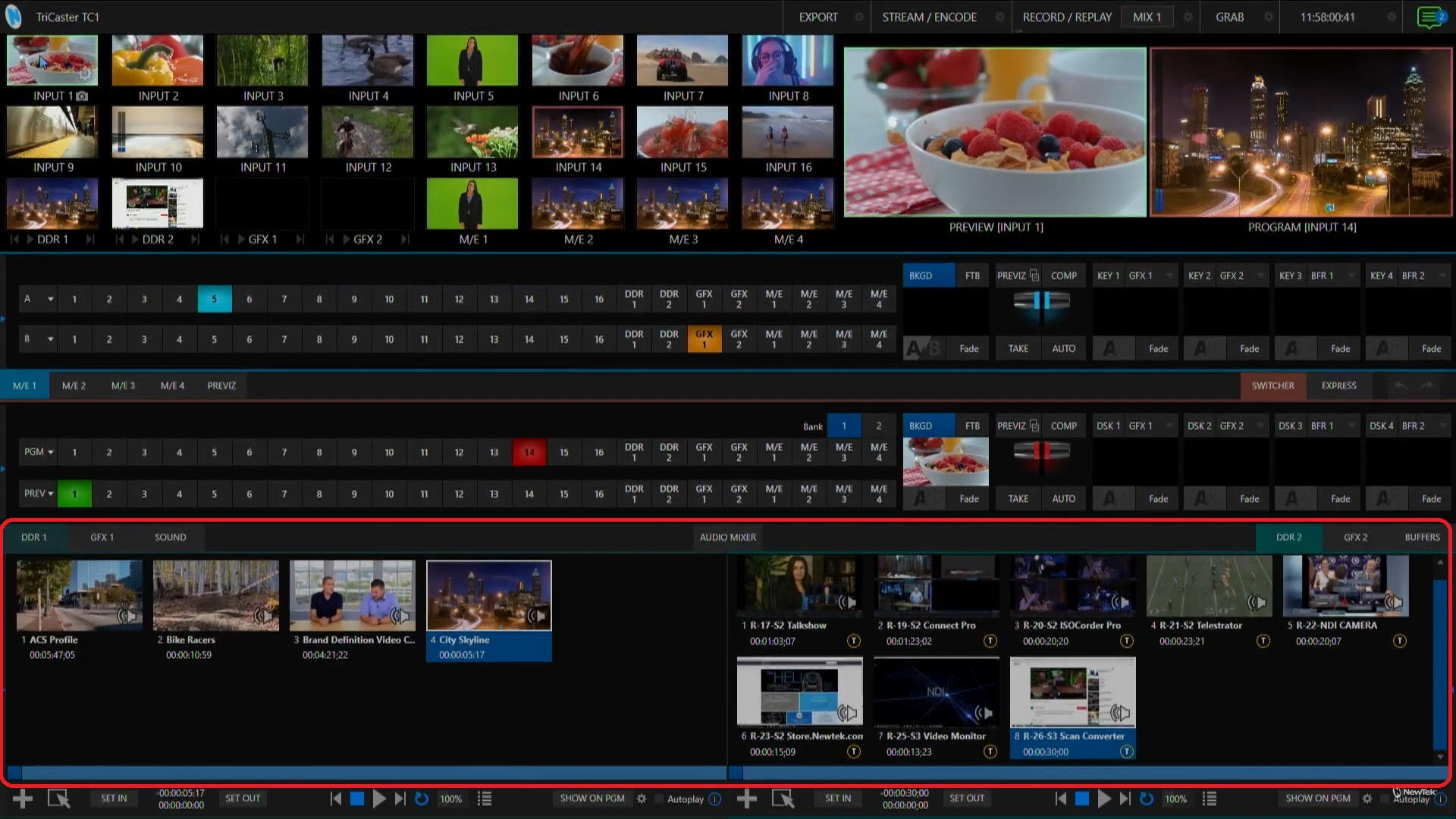 TriCaster TC1 Live Production Interface with Media Bins section circled