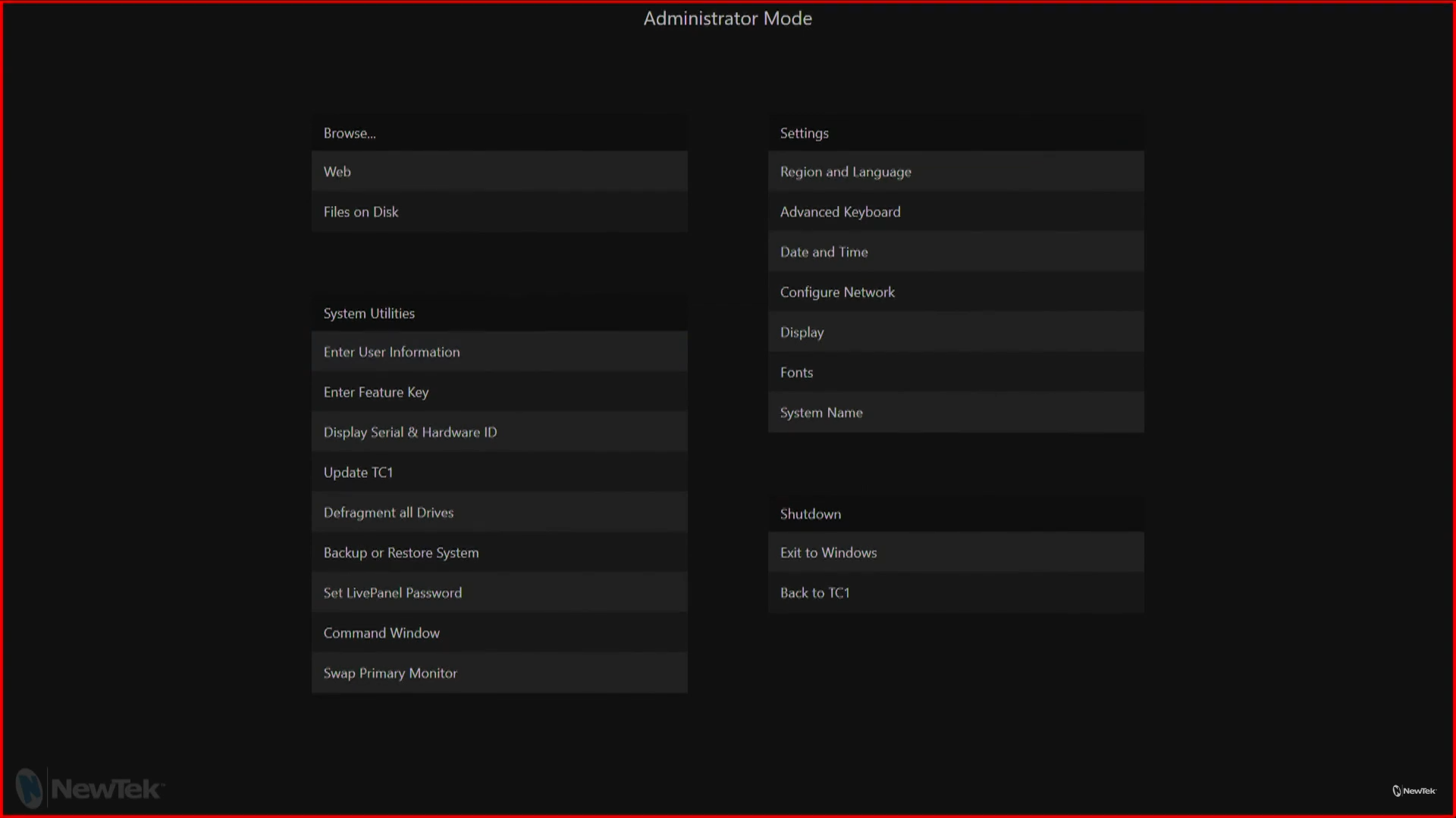 TriCaster TC1 software Administrator Screen settings