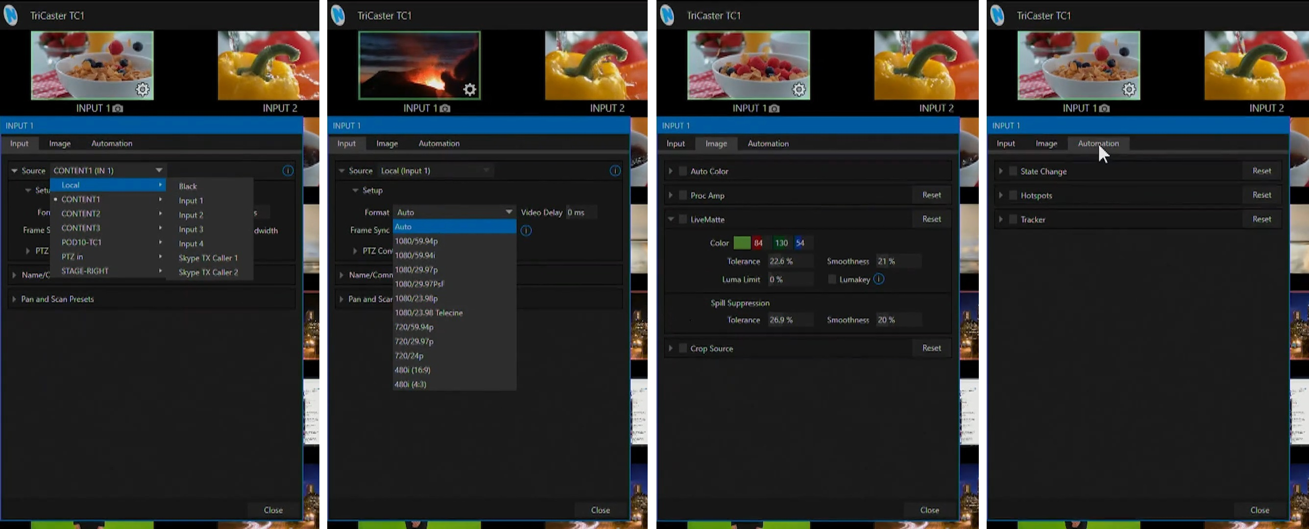 Input Configuration Panel screenshots for TriCaster TC1