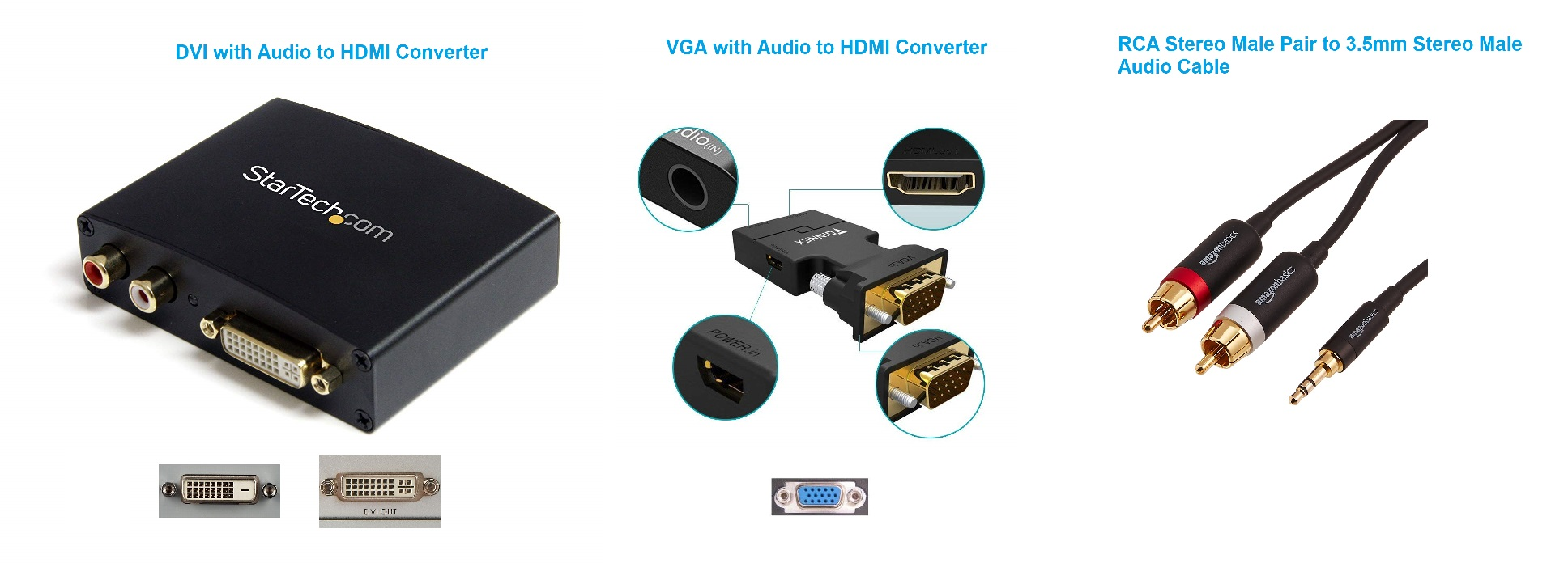 Computer VGA and DVI Video Port to HDMI Adapters with Audio