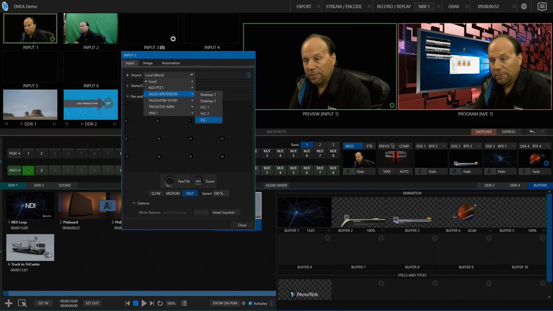 Selecting a VLC SyncPlay NDI video stream in TriCaster