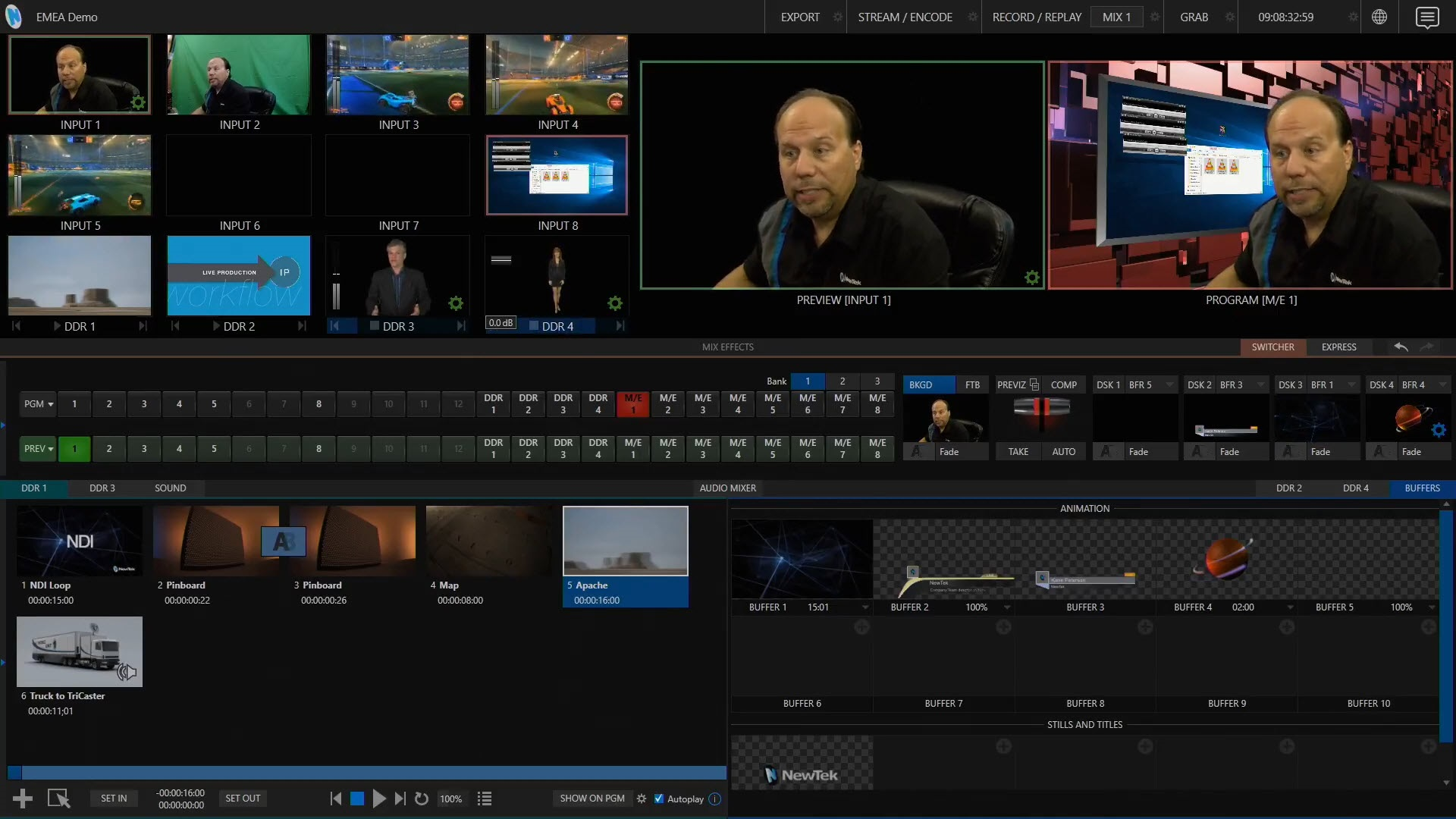 Three VLC SyncPlay NDI video streams assigned to inputs in TriCaster