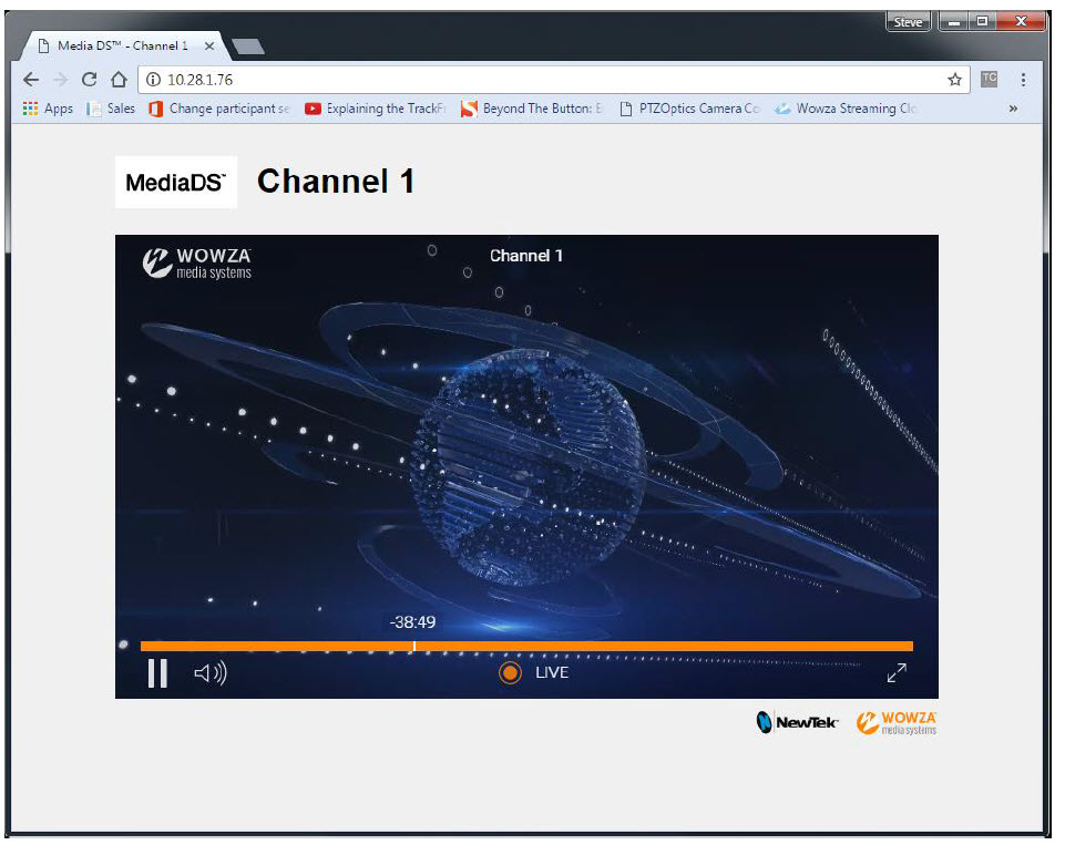 MediaDS web page with DVR controls