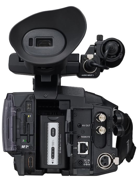 Panasonic AG-CX350 rear view showing connections
