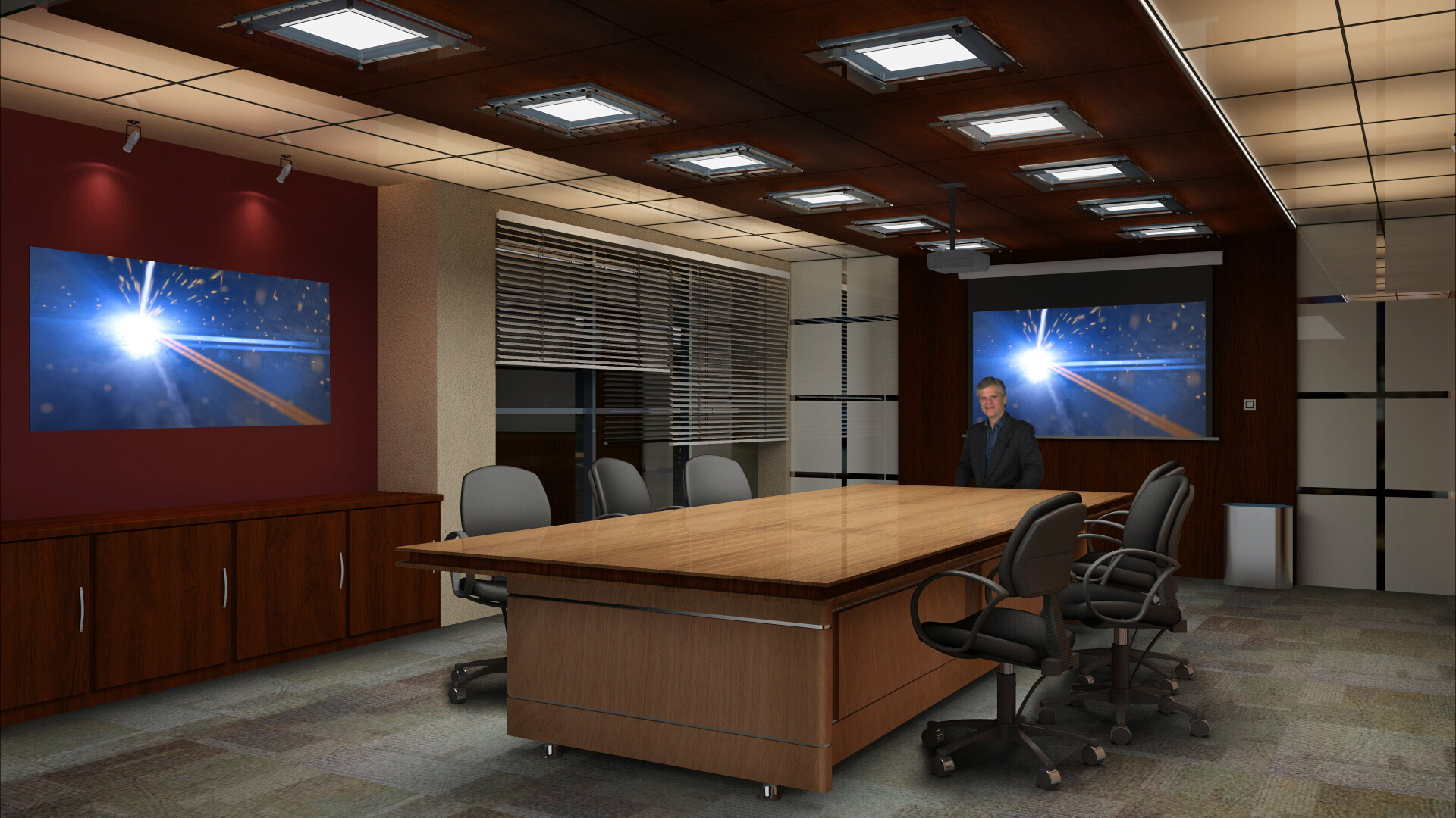 Boardroom virtual set with two virtual monitors