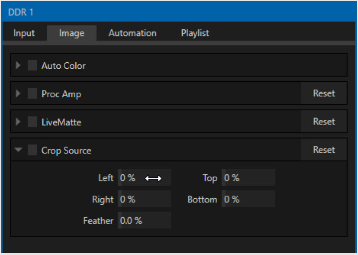TriCaster Rev 7 Twirldown gadgets in Panels ease navigation