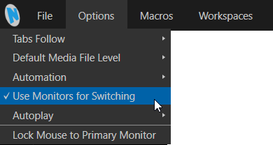 "TriCaster Rev 7 Menu Option ""Use Monitors to Switch"" in UI"