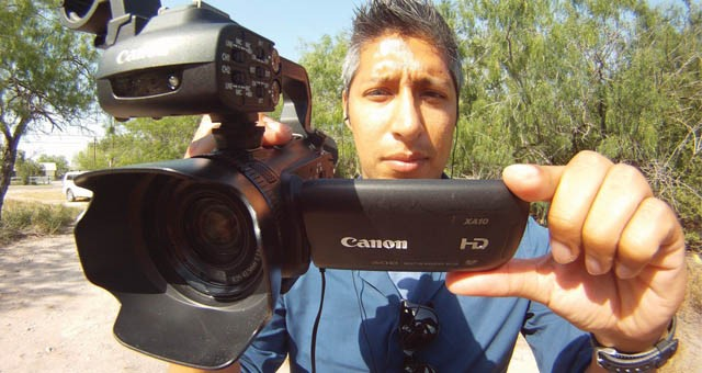 The Canon XA10 HD is ideal for studio and/or location work and offers a handy flip-out HD viewscreen. Here, used here by a KRGV-TV5, shooter, it helped that station win an Emmy Award.
