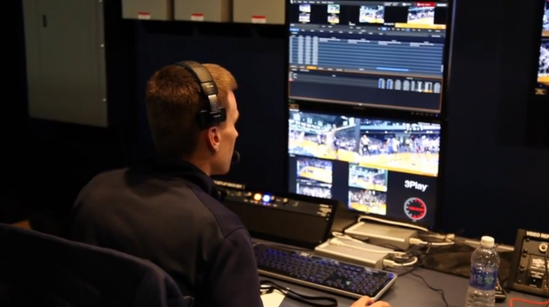 TD operating the NewTek 3Play during a game at Hinkle Fieldhouse.