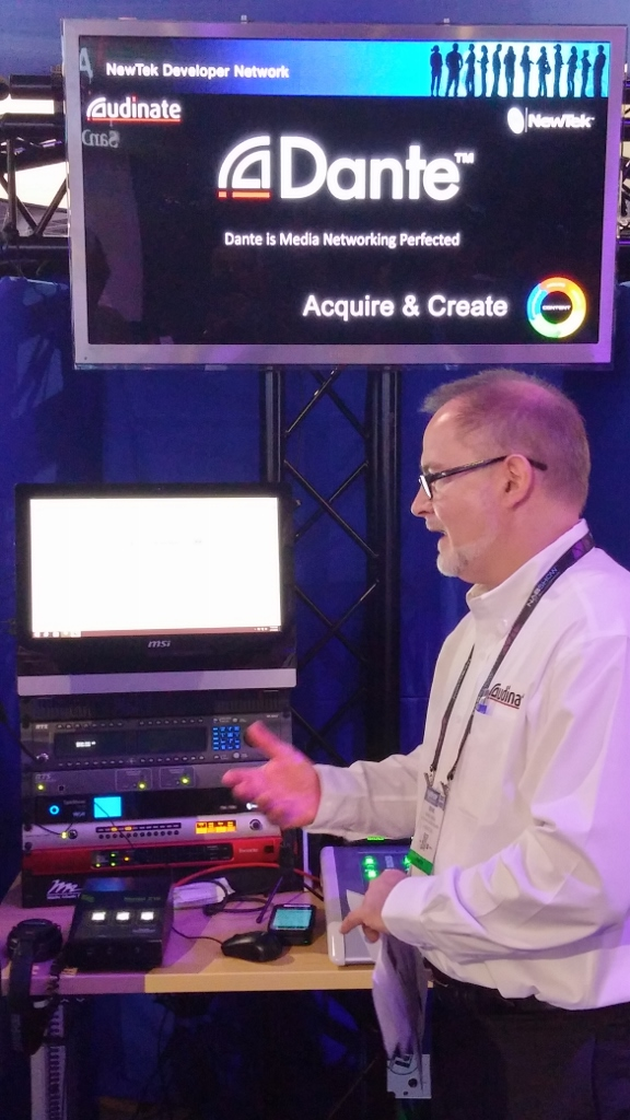 Audinate demonstrates Dante media networking, which is integrated with NewTek production systems.