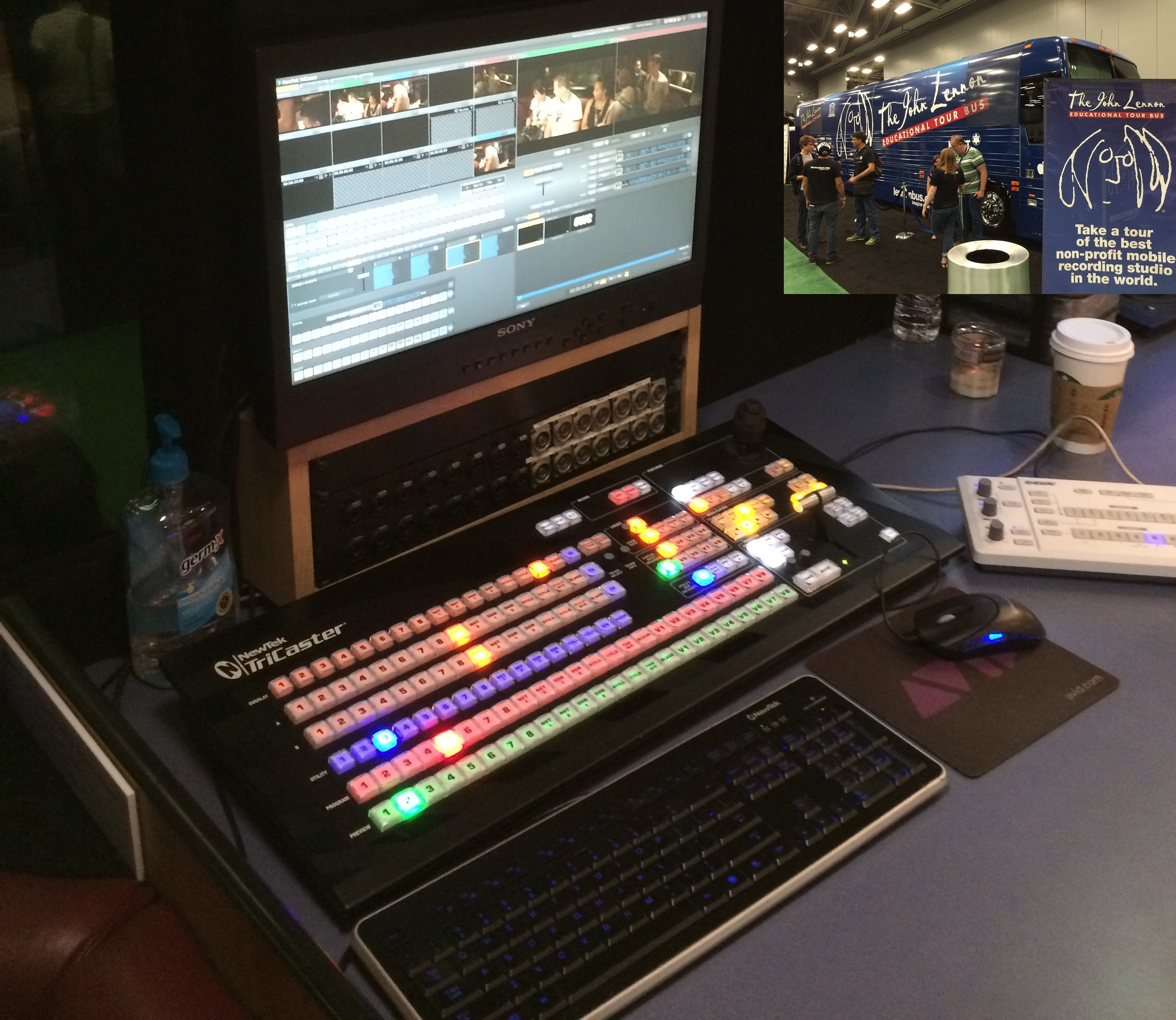A shot of the TriCaster Set up of The John Lennon Educational Tour Bus (inset), another TriCaster user at SXSW 2015.