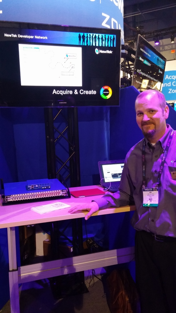 PESA shows their latest video router: R3232 is a 3G SDI video router with 32 sources and 32 destinations that can be controlled directly from TriCaster's UI.
