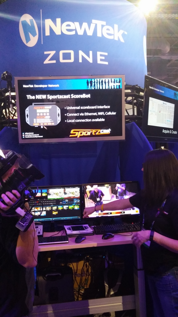 SportzCast is showing ScoreBot, a universal scoreboard interface.