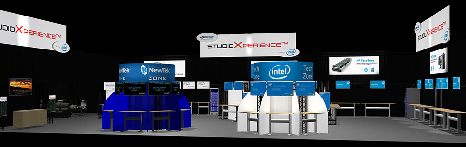View of the StudioXperience booth from the secondary aisle.