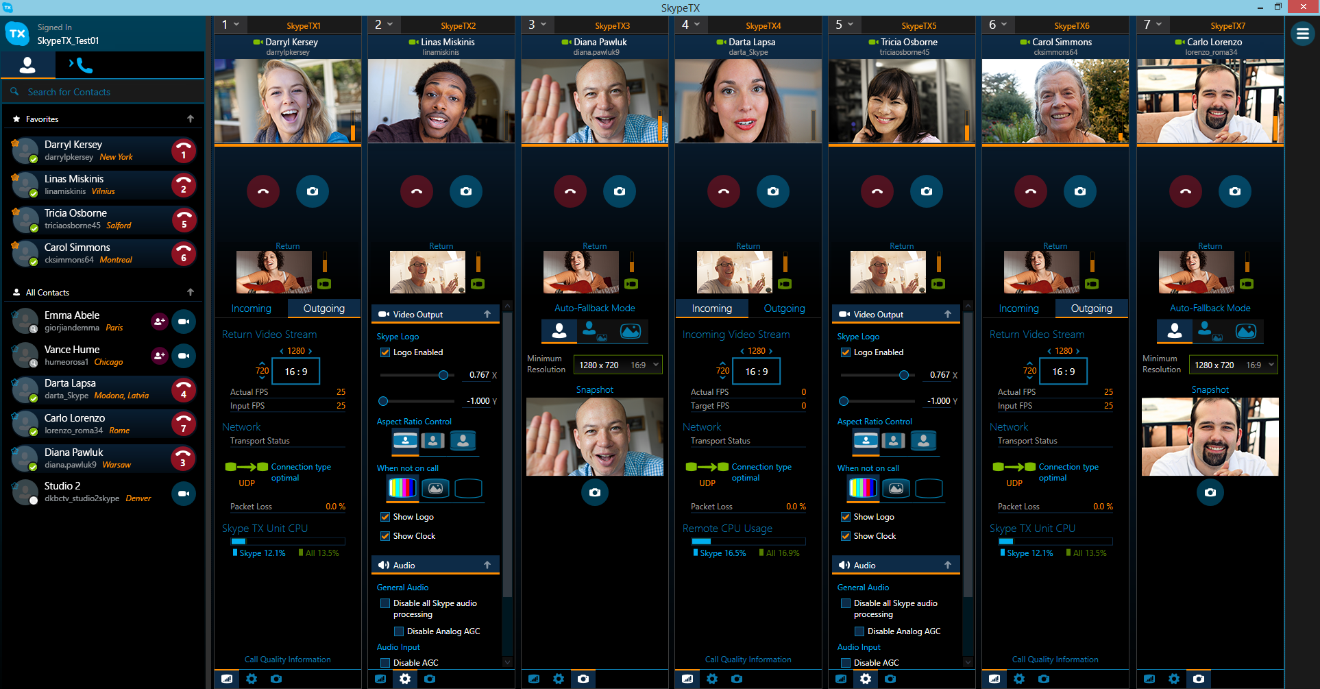 Skype TX controller user interface