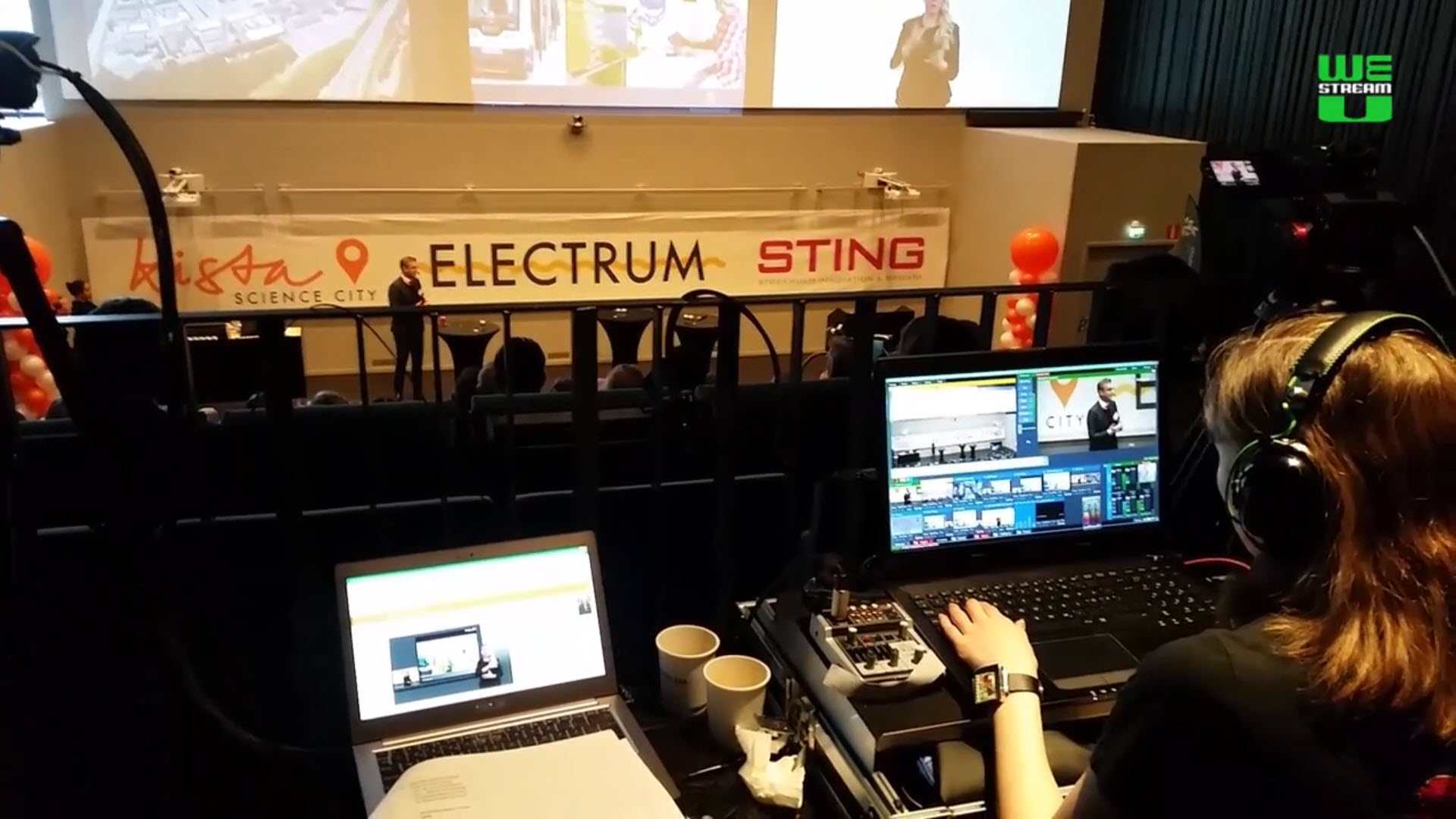 View over the technical director's shoulder, live-switching the conference on location in Kista, Sweden.