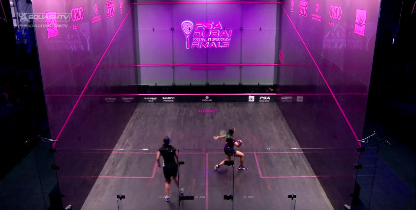 New glass courts make the game play visible for both spectators and video crews.