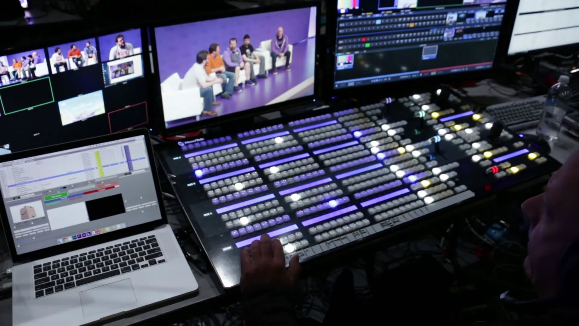 NewTek IP Series 4-stripe control surface at work.
