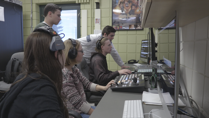 (L to R) Junior Rorie Boulware, Senior Dylan Cleland, Junior Emma Pucek, Senior Matt Simkovic, and Senior Michael Sciulli prepare for a broadcast project in Penn-Trafford high school's production control room.