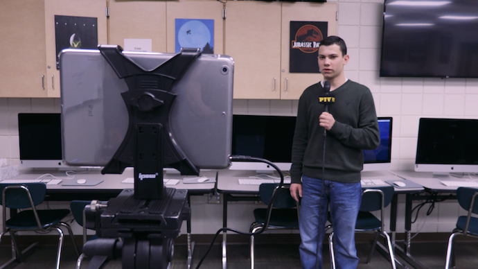 Senior Dylan Cleland goes live using one of the school's IPads connected wirelessly to the TriCaster via NDI.