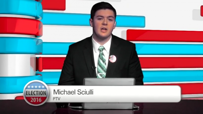 Senior Michael Sciulli anchoring live election coverage at Penn-Trafford High School.