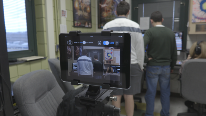 One of Penn-Trafford High School's IPads is connected wirelessly to the TriCaster thanks to the NDI Camera app.