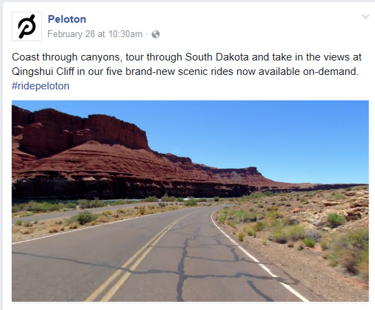 A Peloton Facebook page post showcasing a new ride video. TriCaster can publish to social media during a live production.