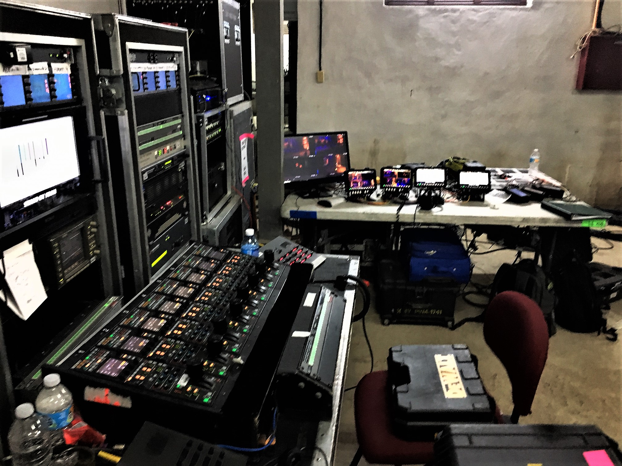 A section of the control room for the live production of the International Jazz Day Concert .