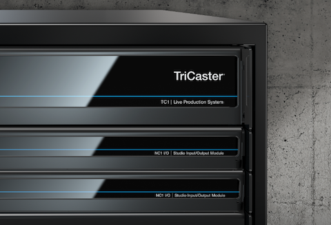 TriCaster TC1 and two NewTek Connect NC1 I/O units in a rack.