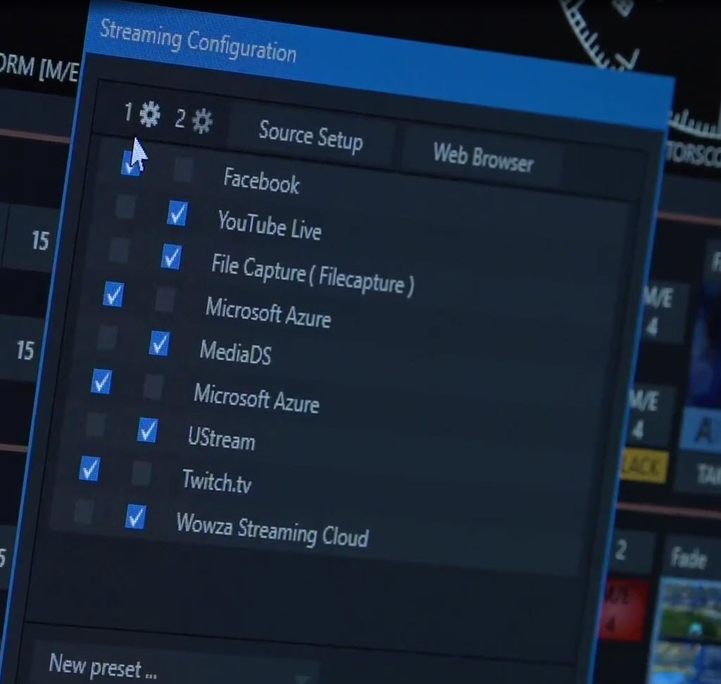 UI Shot of Streaming Configuration Panel for dual-streaming capability, with presets list.