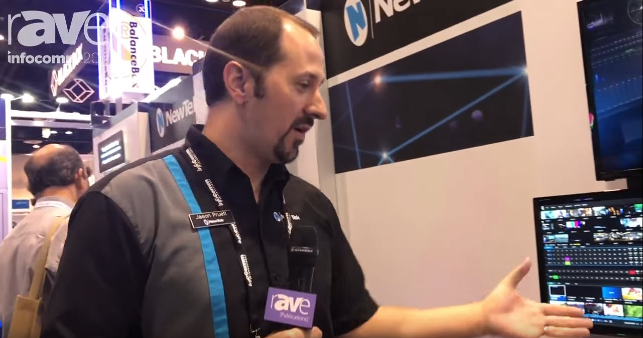 NewTek's Jason Pruett demos TriCaster TC1 at InfoComm 2017.