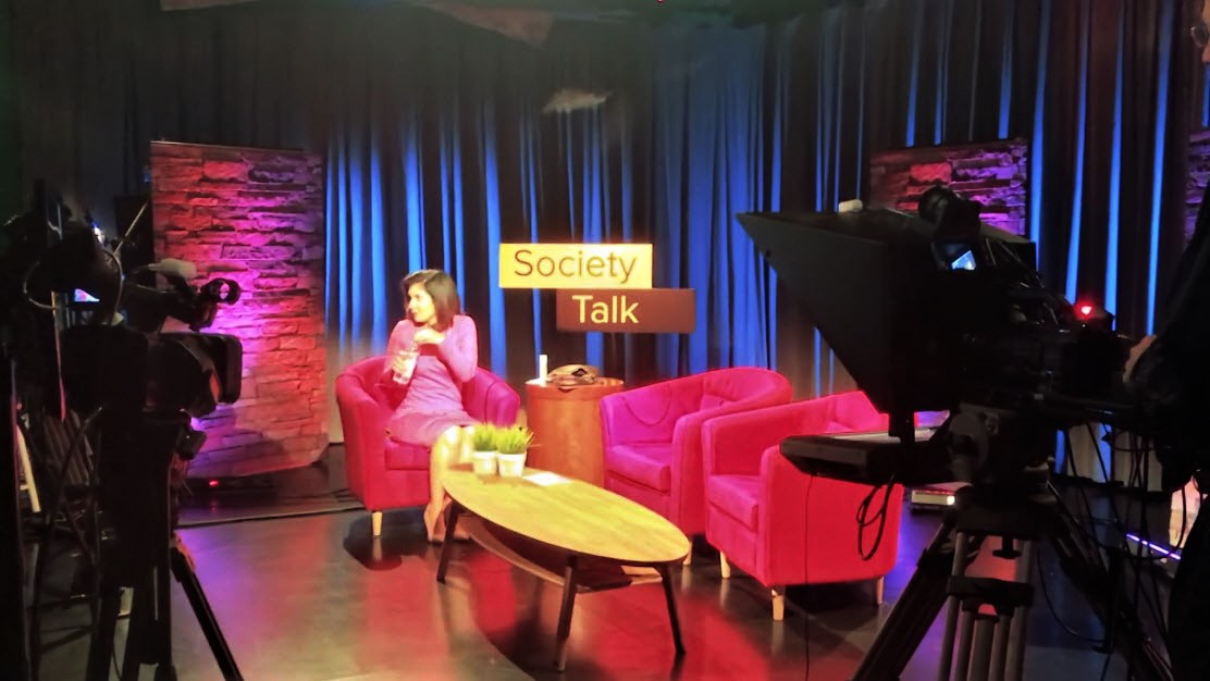 The set in the Atlanta studio, ready for the Society Talk show.