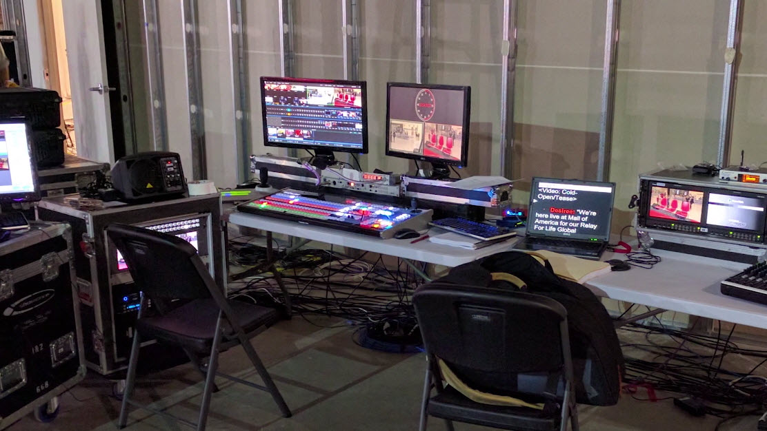 TriCaster set up on location and ready to stream.