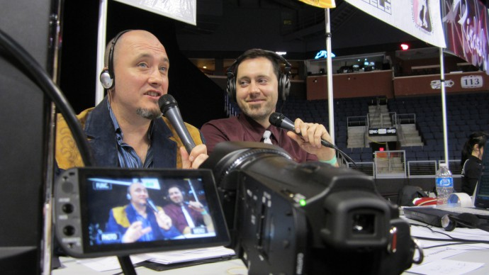 Commentators John Porter, left, and Ryan Will provide commentary on roller derby live streams produced by Blaze Streaming Media.