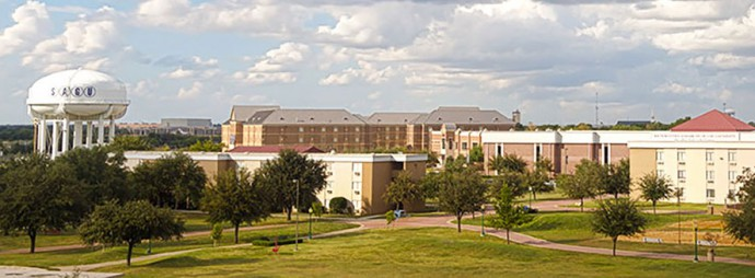 Aerial photo of Southwest Assemblies of God University ion Waxahachie, Texas, also known as SAGU.