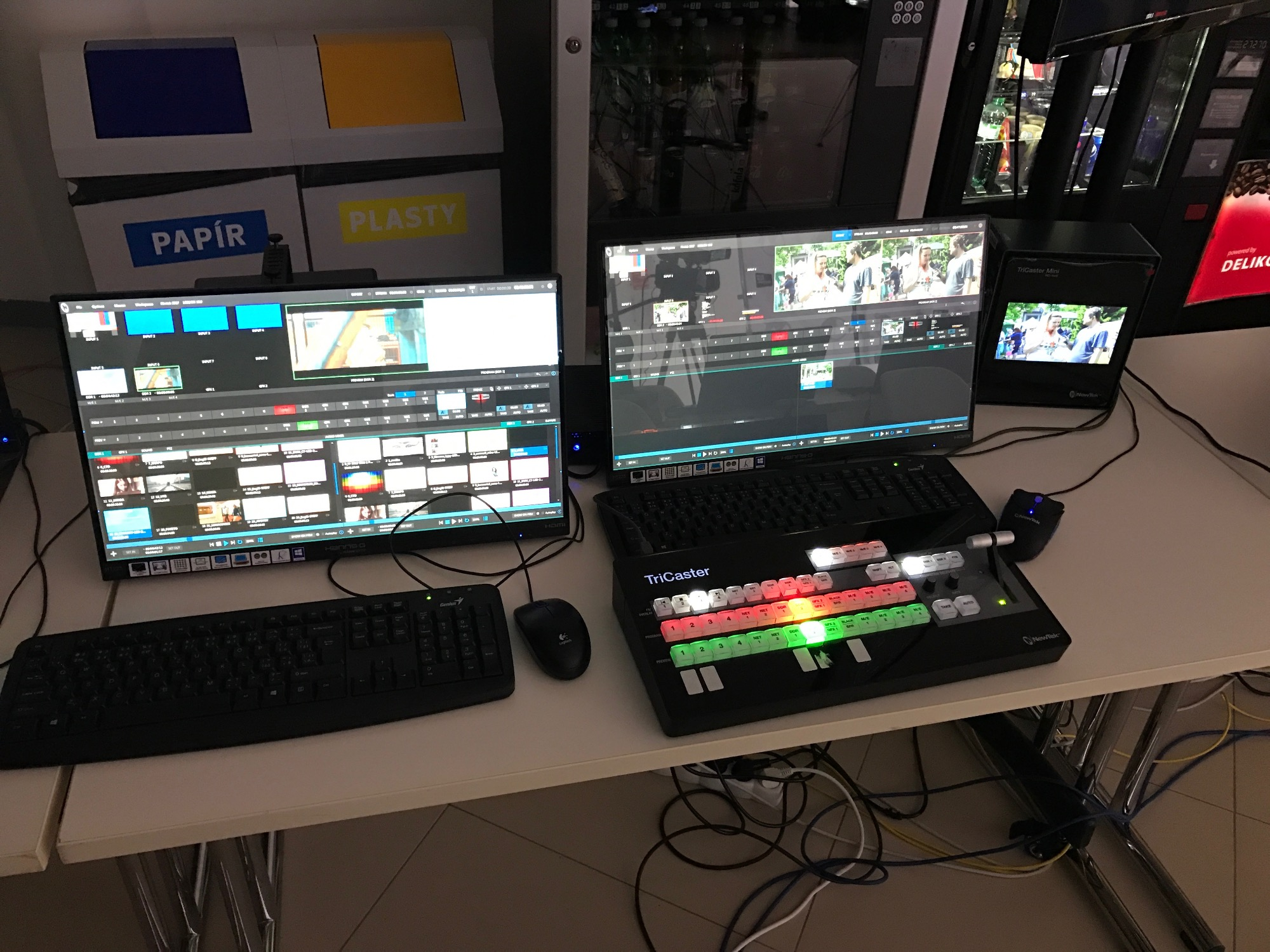 UI Monitor and keyboard for TriCaster Mini SDI on left, UI Monitor, Control Surface and TriCaster Mini HDMI model on the right.