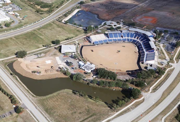 Aerial view of new construction.