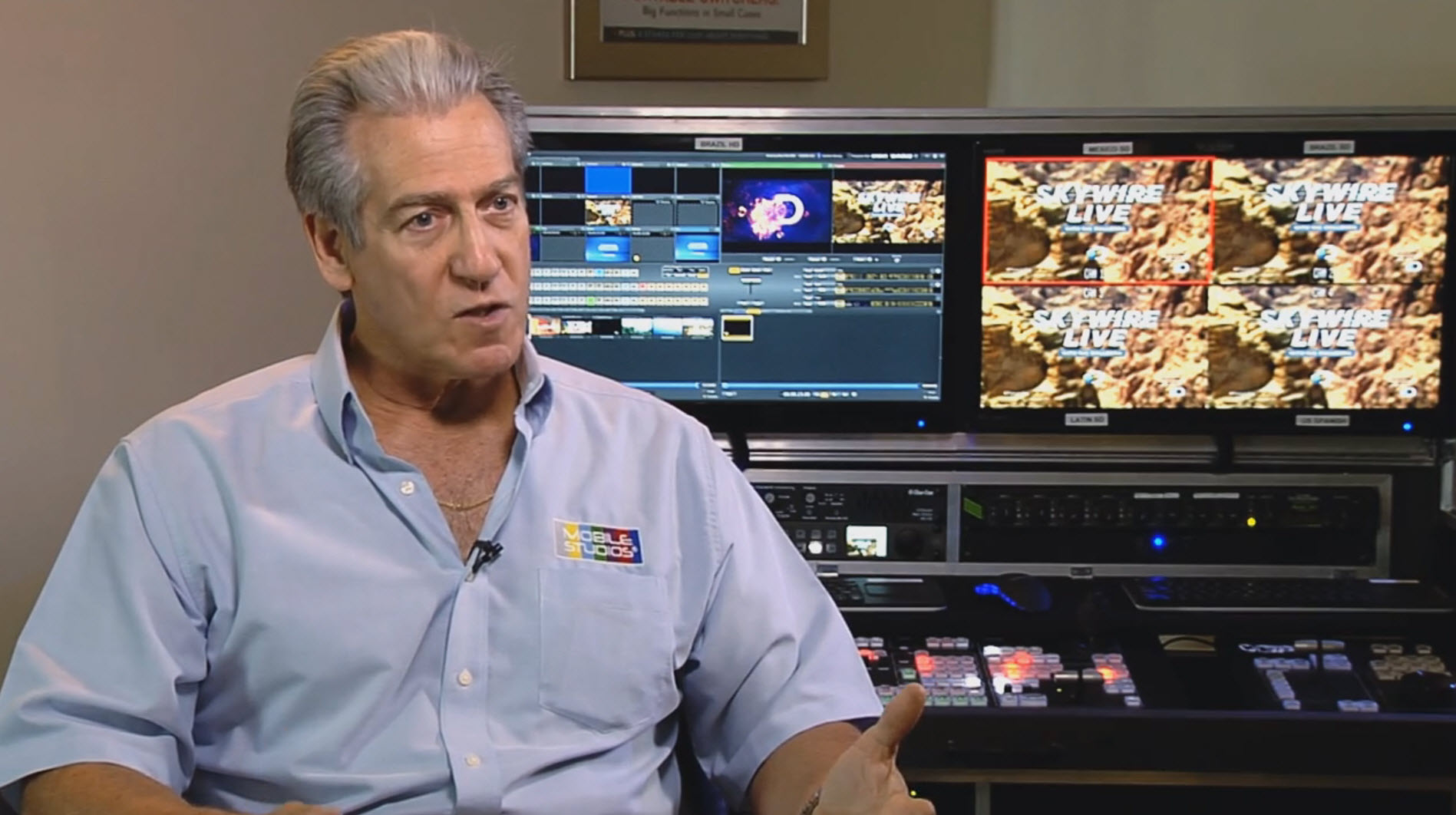 Mobile Studios President, Richard Rubin credits his crew and the reliability of six fully integrated TriCaster systems, for a flawless production of the SkyWire Live event.
