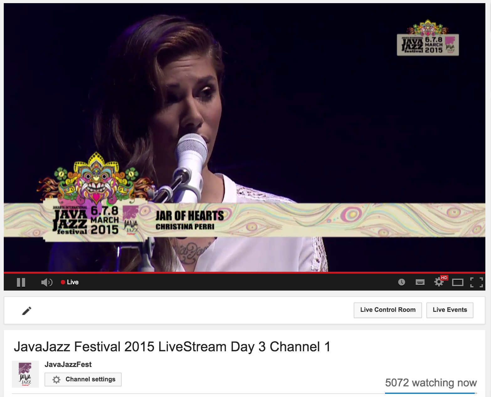 Screenshot from YouTube page for the Java Jazz Festival live stream, courtesy Interindo Multimedia PT.