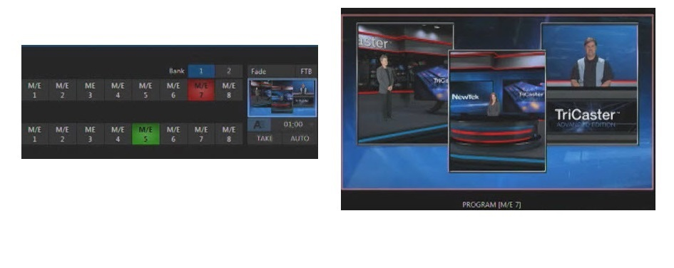M/E 7 has been used to build a multi-layer composition of live video and graphics.