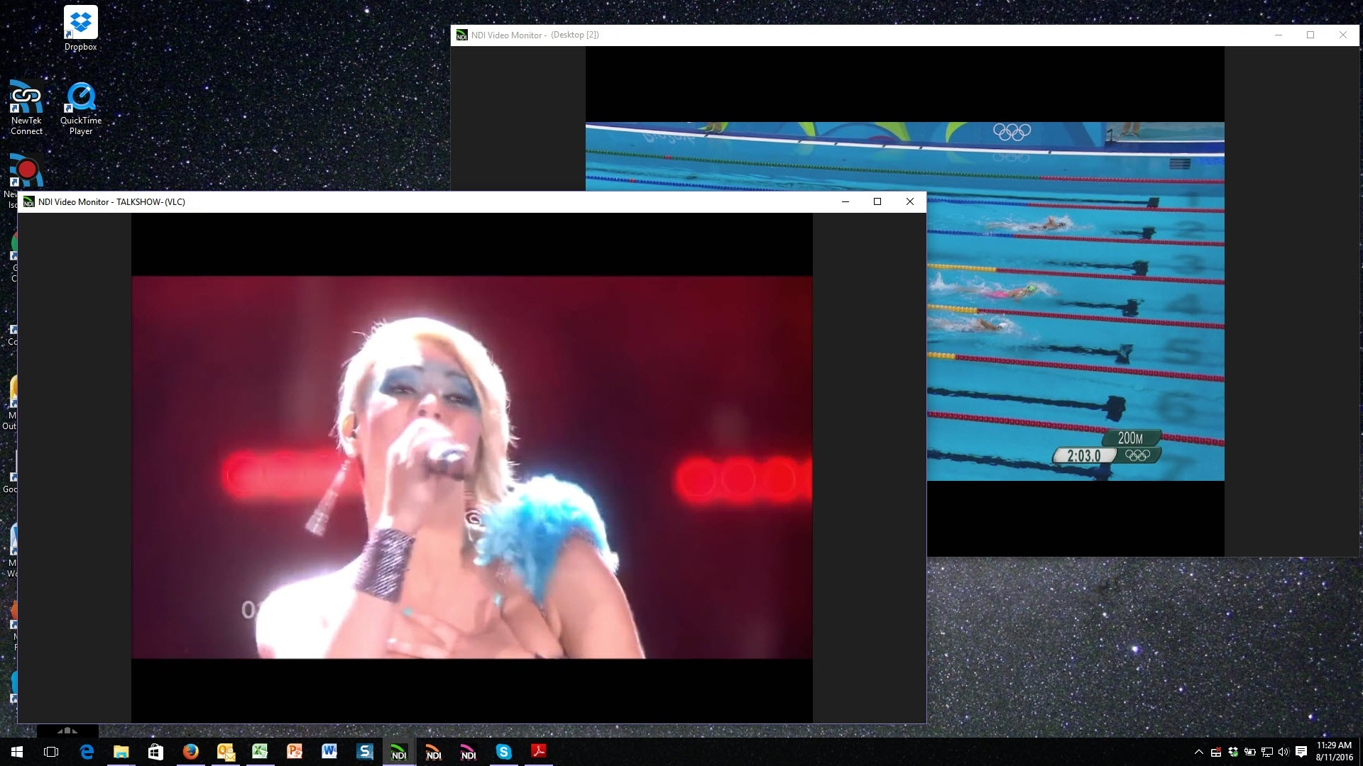 You can open multiple instances of NDI Video Monitor to follow multiple streams of video.