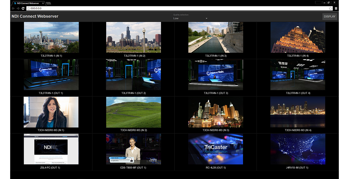 NDI Connect Webserver lets you build custom multiviewers for up to 16 IP video sources.